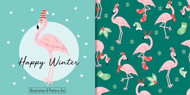 Het naadloze patroon van kerstmis leuke winter flamingo