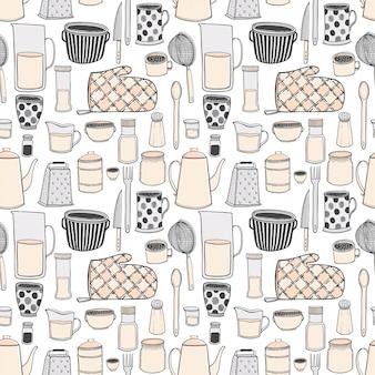 Het naadloze patroon van keukengerei en de hulpmiddelen overhandigen getrokken illustraties.