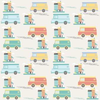 Het naadloze patroon van kinderen met auto's en gebouwen