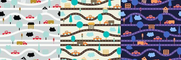 Het naadloze patroon van kinderen met wegen, auto's, bomen, verkeerslichten, huizen en wolken.