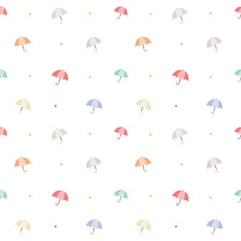 Het naadloze patroon van paraplu in het themaset van de regenboogkleur.