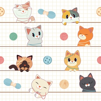 Het naadloze patroon van schattige kat en vriend spelen met garen, banner, wenskaart.