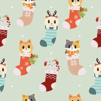 Het naadloze patroon van schattige kat in de sok set
