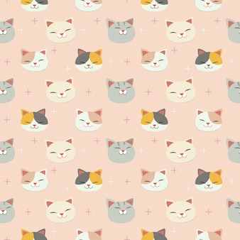 Het naadloze patroon van schattige kattenkop