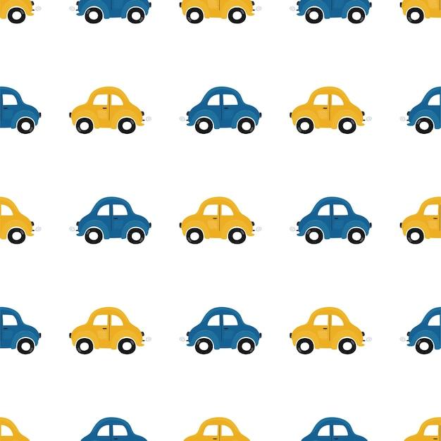 Het naadloze patroon van schattige kinderen met blauwe en gele kleine auto's op een licht