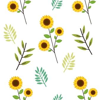 Het naadloze patroon van schattige zonnebloem en bladeren in vlakke stijl.