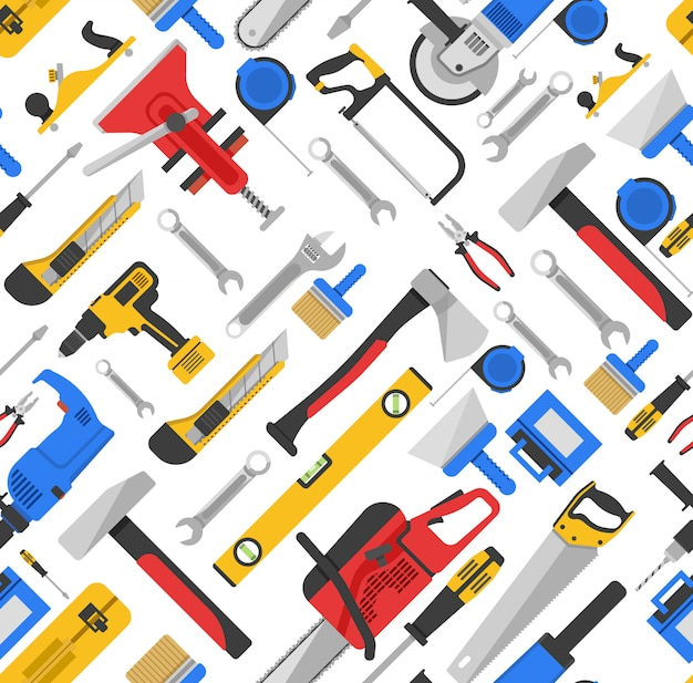 Het naadloze patroon van uitrustingsstukken met materiaal voor reparatie en timmerwerk