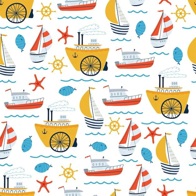 Het naadloze patroon van zeekinderen met zeilschip, jacht, stoomschip