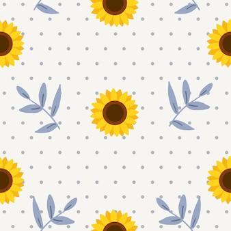 Het naadloze patroon van zonnebloem met bladeren en polka dot.