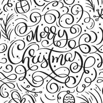 Het naadloze patroon voor kerstmis met bloeit kerstmiselementen van kalligrafie