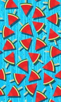 Het naadloze patroonijs knalt van watermeloen