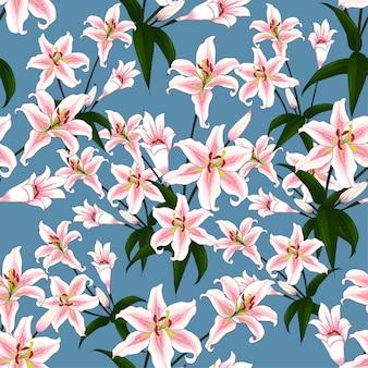 Het naadloze patroonroze bloeit lilly op blauwe achtergrond.
