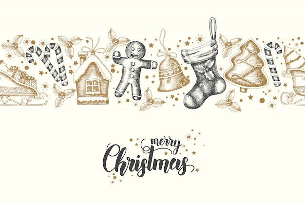 Het naadloze trendy patroon met hand getrokken gouden-zwarte kerstmis heeft vrolijke kerstmis en gelukkig nieuwjaar bezwaar. sketch.lettering.background kan worden gebruikt voor behang, web, banner, textiel,