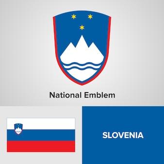 Het nationale embleem en de vlag van slovenië