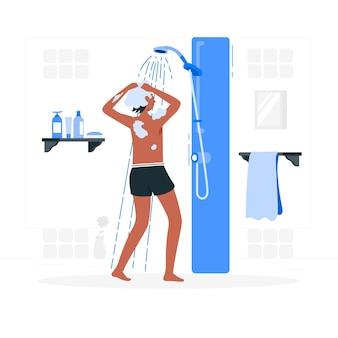 Het nemen van een douche concept illustratie