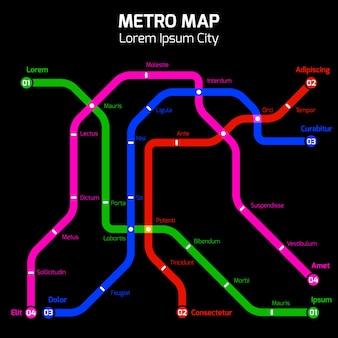 Het neon kleurt metro of metro het concept van de stadskaart