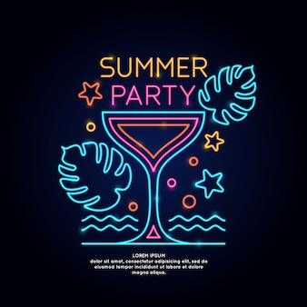 Het neon poster zomerfeest. reclame reizen op vakantie naar de zee.
