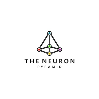 Het neuron pyramid connection-symbool logo-ontwerp