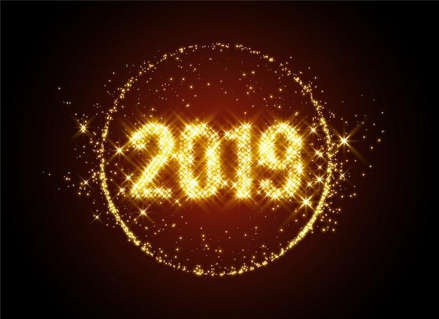 Het nieuwe jaar 2019 schittert op de achtergrond