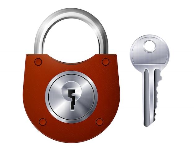 Het nieuwe rode hangslot en de metalen sleutel isoleerden decoratieve pictogrammen op realistisch wit