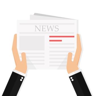 Het nieuws van de zakenmanlezing in krant terwijl koffiepauze