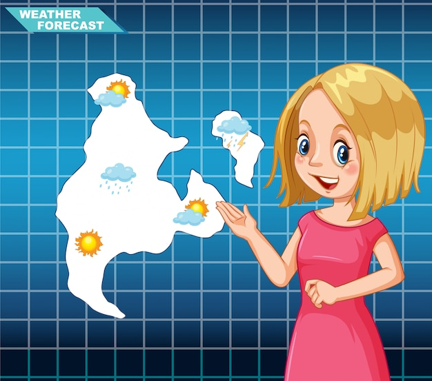 Het nieuws weersvoorspelling van het meisje
