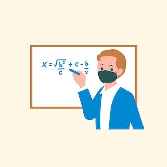 Het onderwijzen van wiskundeklasse vector in de nieuwe normale karakter platte afbeelding