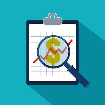 Het onderzoeken van economische statistiek. financiële examinator. vector illustratie.