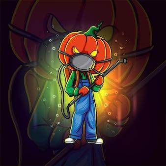 Het ongedierteverdelger pompoen esport logo-ontwerp van illustratie