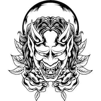 Het oni-masker japans silhouet