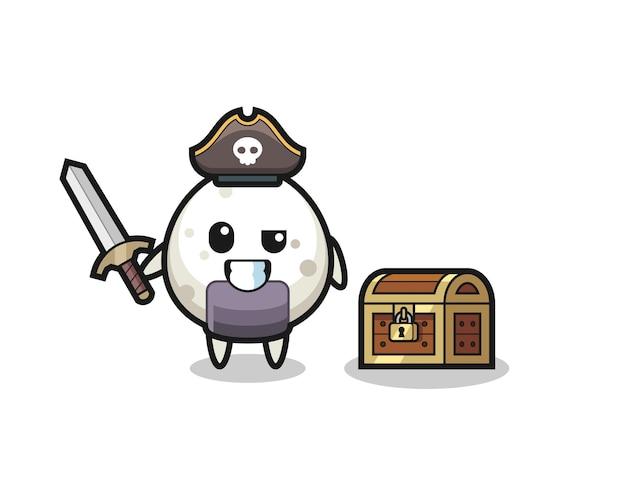 Het onigiri-piraatkarakter met zwaard naast een schatkist, schattig stijlontwerp voor t-shirt, sticker, logo-element