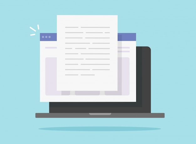 Het online schrijven van digitale tekstinhoud op laptopcomputer of het creëren van het internetdocument van het essayinternet of boek op vlakke illustratie van pc