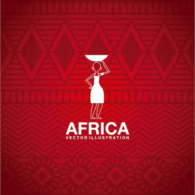 Het ontwerp van afrika over rode vectorillustratie als achtergrond