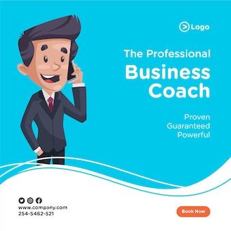 Het ontwerp van de banner van zakenman praat op de mobiele telefoon