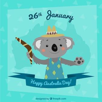 Het ontwerp van de dag van australië met schattige koala