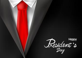 Het ontwerp van de dag van de president van kostuum met rode stropdas