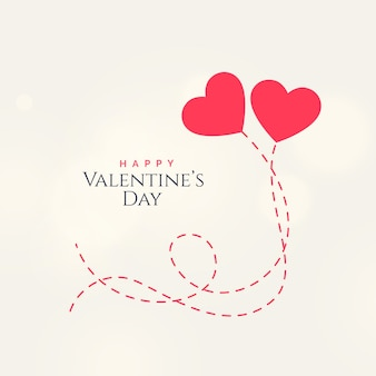 Het ontwerp van de de dagkaart van de zoete valentijnskaart met twee drijvende harten