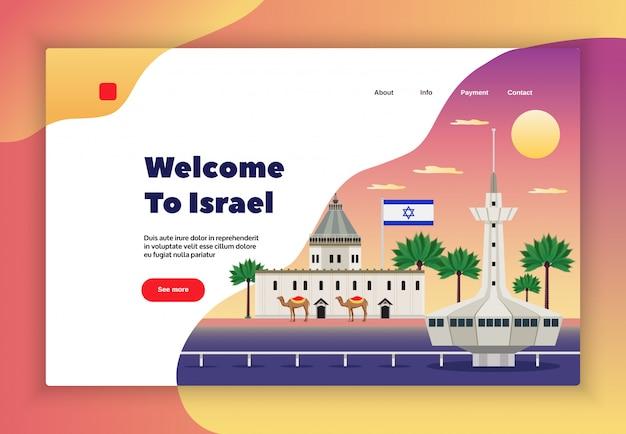 Het ontwerp van de de reispagina van israël met de symbolen vlakke illustratie van de reisbetaling