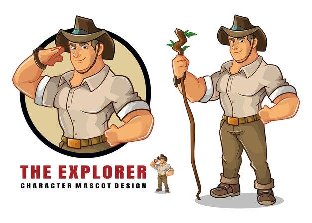 Het ontwerp van de explorer-karaktermascotte