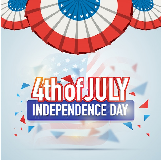 Het ontwerp van de groetkaart voor 4 juli, de amerikaanse viering van de onafhankelijkheidsdag.