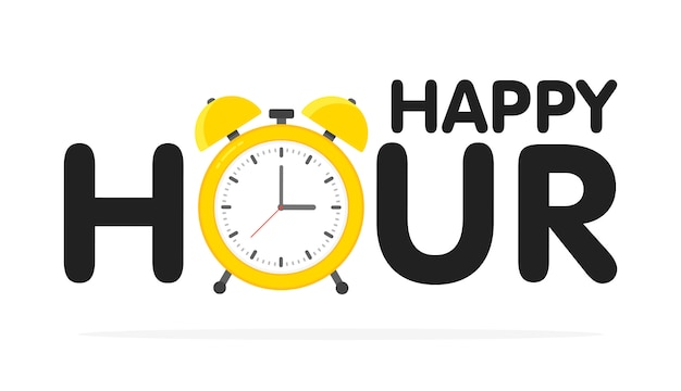 Het ontwerp van de happy hourwekker, illustratie