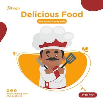 Het ontwerp van de heerlijk voedselbanner met chef-kok die het mes en de spatel in handen houdt