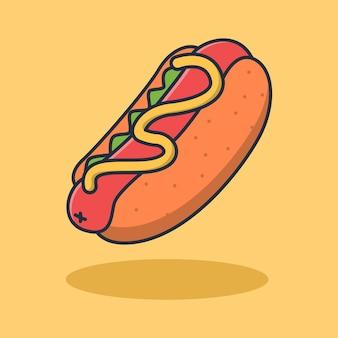 Het ontwerp van de hotdogillustratie met geroosterd worstbovenste laagje en heerlijke mosterdsaus.