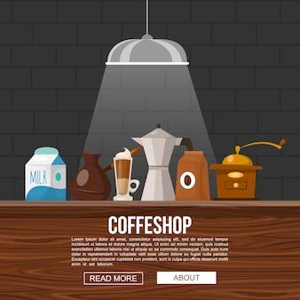 Het ontwerp van de koffiewinkel met voorwerpen voor het maken van dranken op houten barteller in lichtstraal