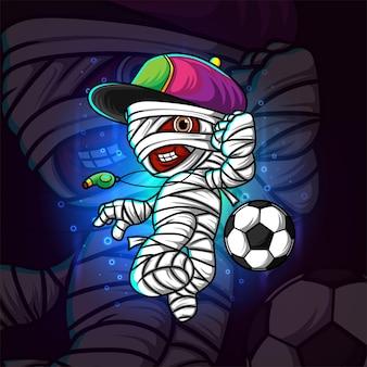 Het ontwerp van de mascotte van de voetbalscheidsrechter mummie esport van illustratie