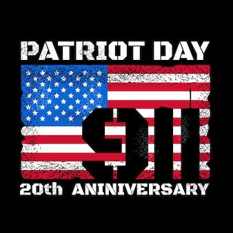 Het ontwerp van de patriotdag met amerikaanse vlag en de skyline van de tweelingtorens van het world trade center van new york. vector illustratie ontwerp. onthoud 911, 11 september aanvalsconcept
