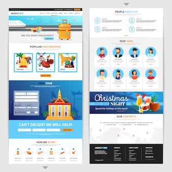 Het ontwerp van de reisbureauweb-pagina met de populaire vlakke geïsoleerde vectorillustratie van doomsymbolen