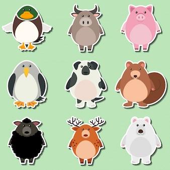 Het ontwerp van de sticker voor leuke dieren op groene achtergrond