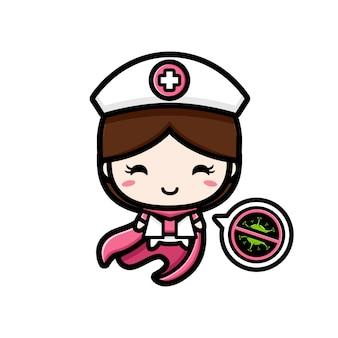 Het ontwerp van de verpleegster is een held met een stopvirus-symbool