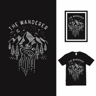 Het ontwerp van de wanderer mountain monoline t-shirt